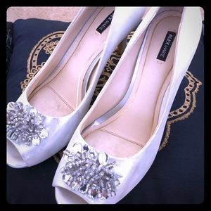 "Alex Marie jeweled silver 3"" heels"